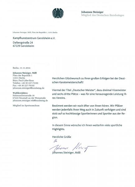 Anerkennung unserer Leistungen durch ein Mitglied des Bundestages