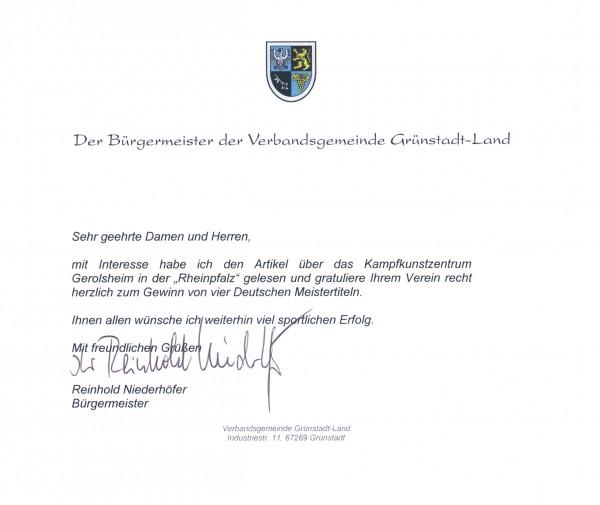Anerkennung unserer Leistungen durch einen Vertreter der Verbandsgemeinde Grünstadt-Land
