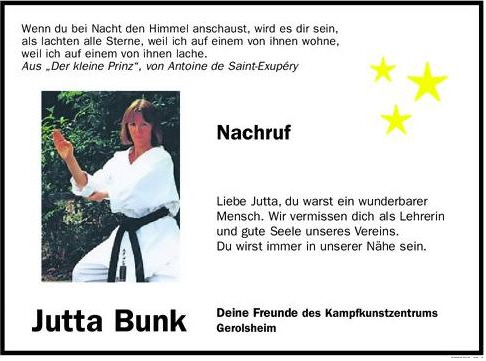 Nachruf Jutta Bunk